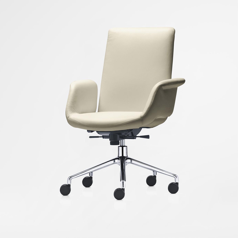 Fritz Hansen OXFORD CLASSIC -työtuoli, medium selkänoja, käsinojat, pyörät, kangasverhoilu